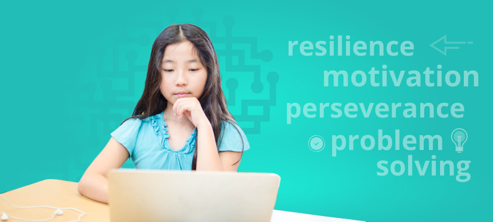 Girl persisting to solve coding problem