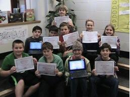 Meg_Allison Moretown School 6th graders complete their hourofcode with flying colors