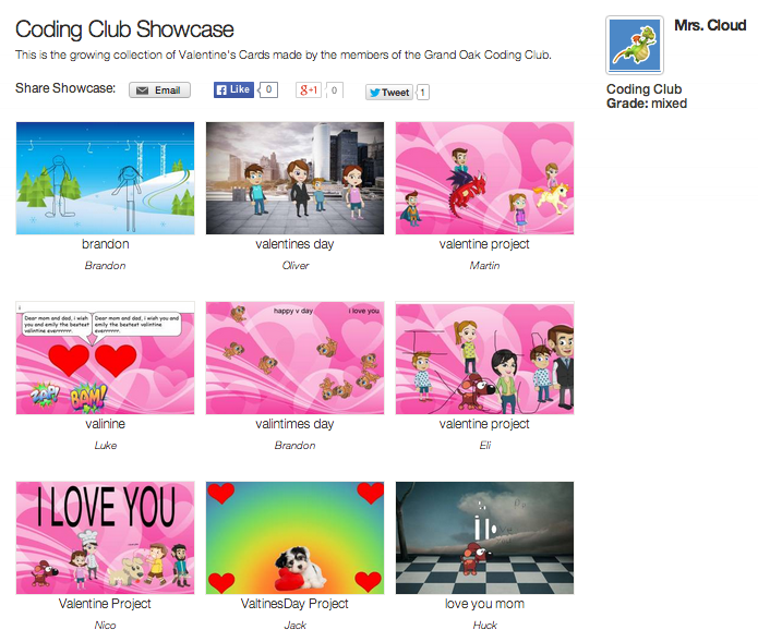Mrs. Cloud's Coding Club Showcase