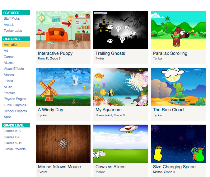 Explore! the coolest Tynker apps created by children