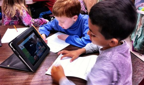 Kids Writing with Tablet