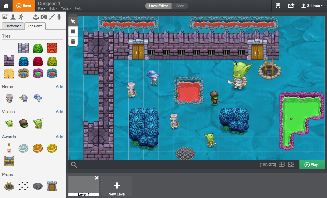 Build Top-Down Worlds and RPGs with Tynker